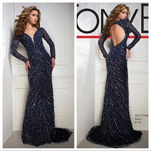Heavy beaded long sleeve competition gown